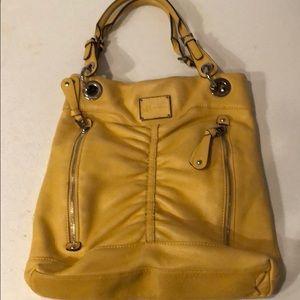 B. Makowsky Yellow Leather Hobo Shoulder Bag